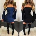 Flare Рукавом Осени Зимы Платье Мода С Плеча Мини Платья Плюс Размер Женская Одежда Сексуальная Черный Синий Bodycon Платье