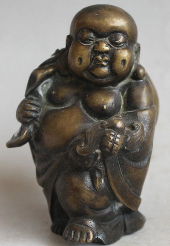 """zhmui88002841540++5"""" Old China <font><b>Bronze</b></font> Bag Buddha Little Monk Bat <font><b>Walking</b></font> Figure <font><b>Figurine</b></font> Statue"""