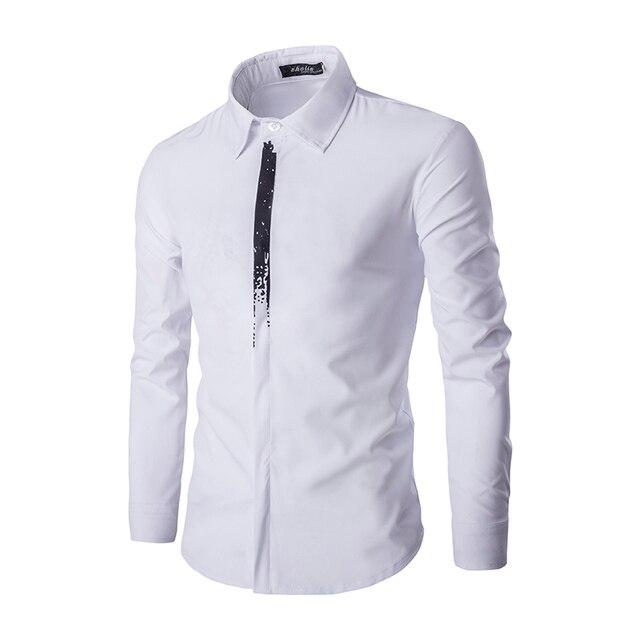 1e43fb86a2e69a Fashion casual men shirt white black print long-sleeve business shirts slim  fit Dress Shirts Men Clothes brand clothing C110