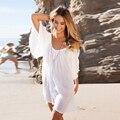 Fashion Women Dress 2017 Summer Beach Dress Белого Хлопка Случайные платья Для Женщин Сексуальный Свободные О-Образным Вырезом Мини Dress Плюс Размер XL