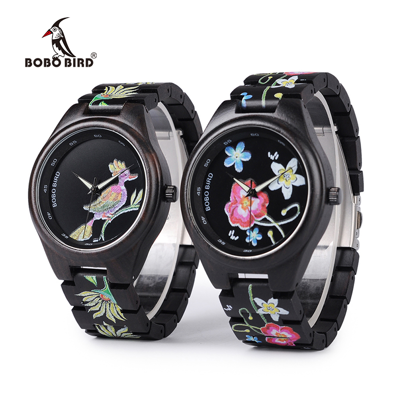 3 Models BOBO BIRD New Special Gifts Watches UV Print Black Wooden Watch for Men Women Christmas Gifts relogio masculino C-P06 moers 3tm relogio mj8010 3