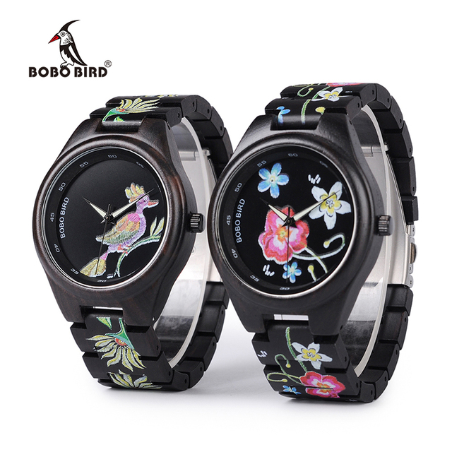3 Models BOBO BIRD New Special Gifts Watches UV Print Black Wooden Watch for Men