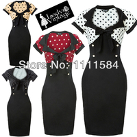 free shipping 2017 New Ladies Polka Dot Rockabilly Cotton Summer Swing Dress Women Pinup Sexy Party Dress
