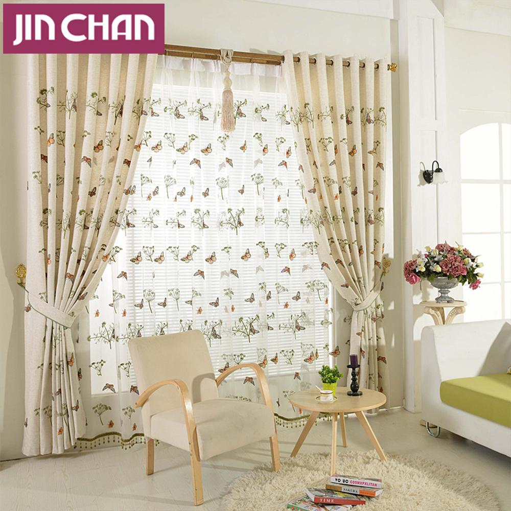 Linen window treatments - Butterfly Embroidered Window Shade Linen Blackout Curtains For Living Room The Bedroom Window Treatments Curtain Panel Drape