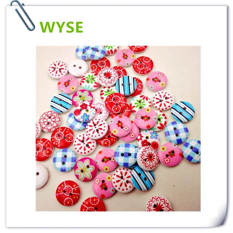 font b baby b font Wooden Buttons 50pc Colorful 15mm 2Hole kid children natural button