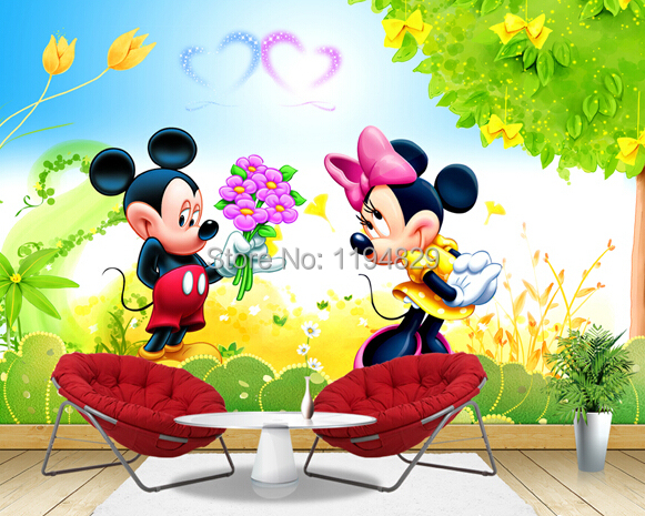 3d Cartoon Romantic Mickey And Minny Mouse Mural Wallpaper Tv Sofa Background Photo Wallpapers For Bedroom Children Room Wallpaper For Childrens Bedroom Wallpaper For Kids Roomwallpaper Setting Aliexpress