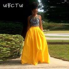 bd96f0a634 WBCTW Falda larga para las mujeres de cintura vestido de amarillo falda de  las mujeres XXS-10XL gran tamaño Vintage verano Jupe .