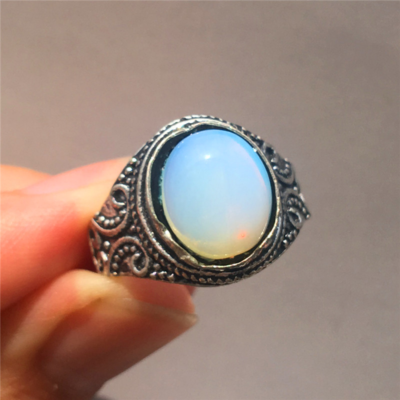 Cute Female Silver Filled Finger Ring Vintage Big Oval Opal Love Ring Classic Wedding Engagement Promise Rings For Women(China)