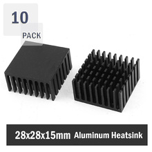 10 Pieces 28x28x15mm High Power Black Anodized Cooler Radiator For PC