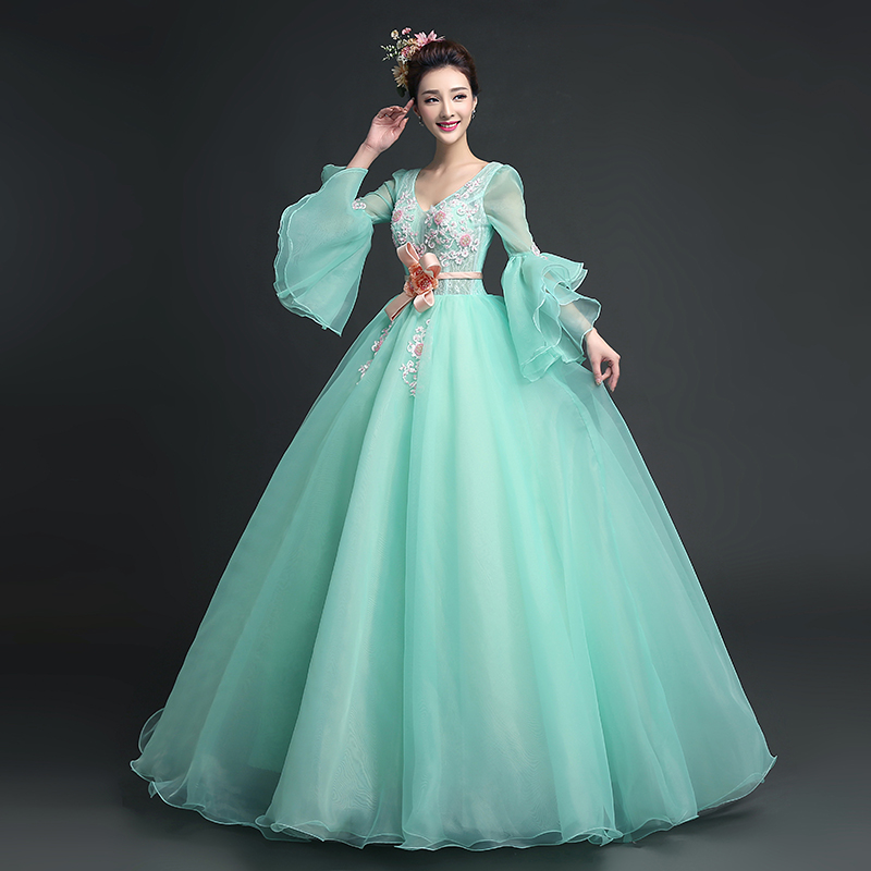 100%real full ruffled sleeve light green princess medieval dress  Renaissance Gown queen Victoria Antoinette ball gown Belle Ball b5ea7d10acfb