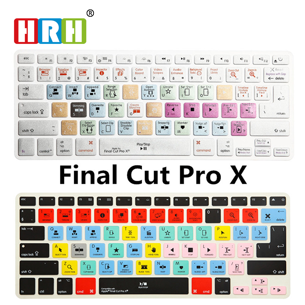 HRH Durable Final Cut Pro X Shortcuts Hot Key Silicone Keyboard Cover Skin Protector For Macbook Air Pro Retina 13 15 17 Release