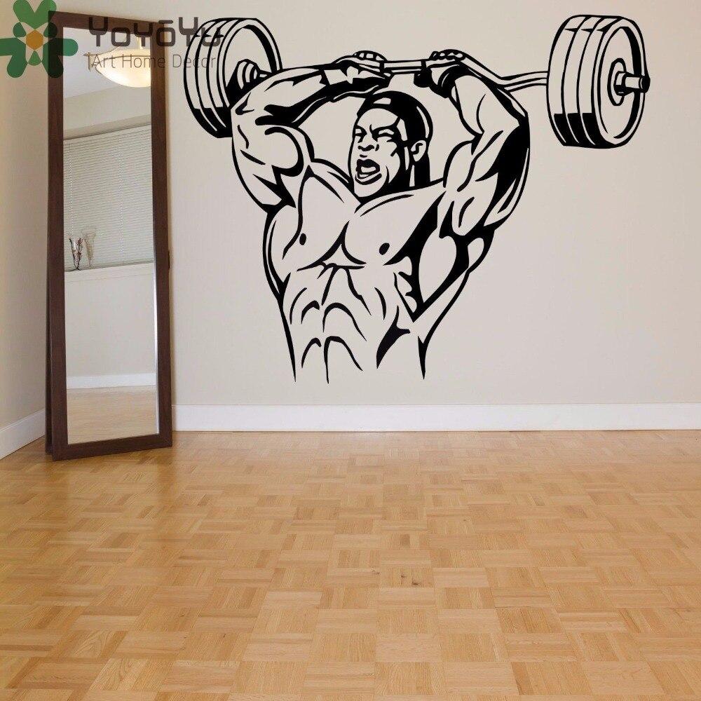 YOYOYU Wall Decal Weight Lifting  Fitness man Picture Art Vinyl Wallpaper Sticker Removeble Home Decor ZX031