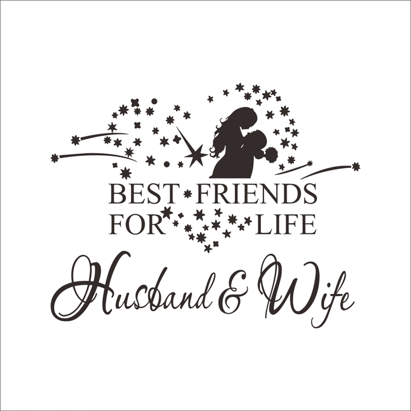 """BEST FRIENDS FOR LIFE HUSBAND /& WIFE WALL ART QUOTE DECAL LETTERING WORDS 48/"""""""
