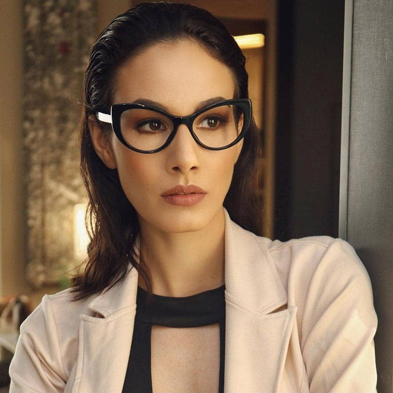 Women Cat Eye Design Optical Eyeglasses Prescription Acetate Rim Spectacles for Big Rim Glasses Frame Fashion Styles 93307