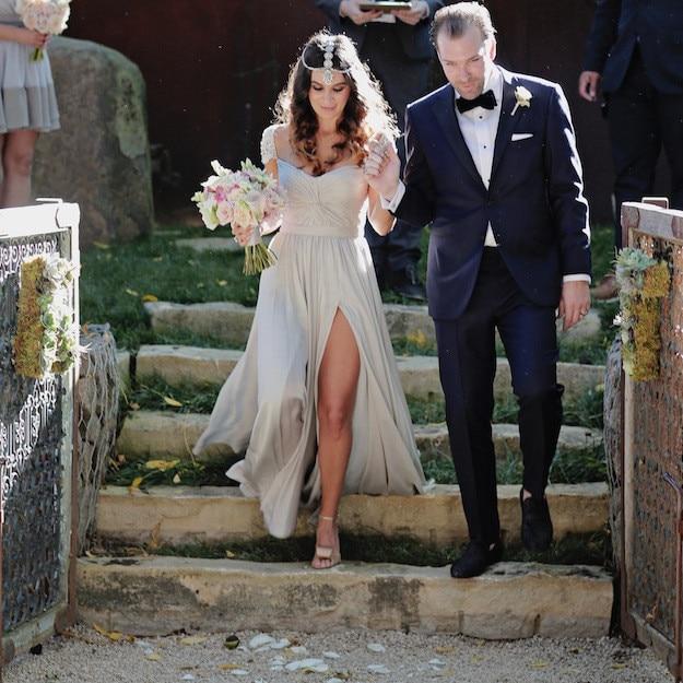 Chiffon Slit Boho Bridal Wedding Gowns Country Western Style Beaded ...