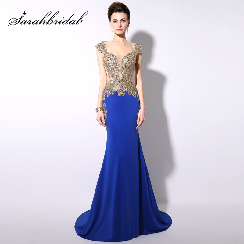 Big Sale Royal Blue Evening Dresses Long 2019 Turkish Formal Evening Gown Gold Embroidery Mermaid Prom Party Dress YD003