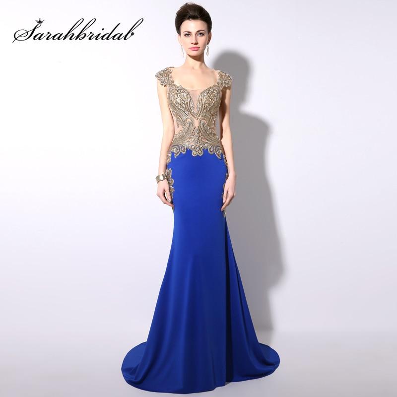 Vestido De Noche Royal Blue Evening   Dresses   Long 2017 Turkish Formal Evening Gown Gold Embroidery Mermaid   Prom     Dress   Gala Jurken