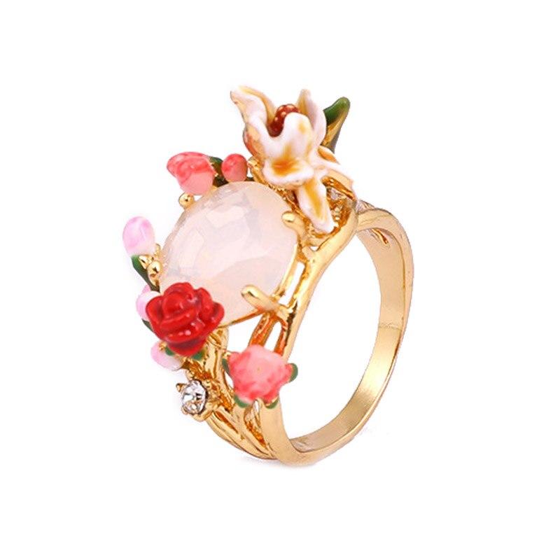 все цены на Fashion ring for women 2018 luxury statement flowers gem finger ring enamel glaze jewelry romantic gift