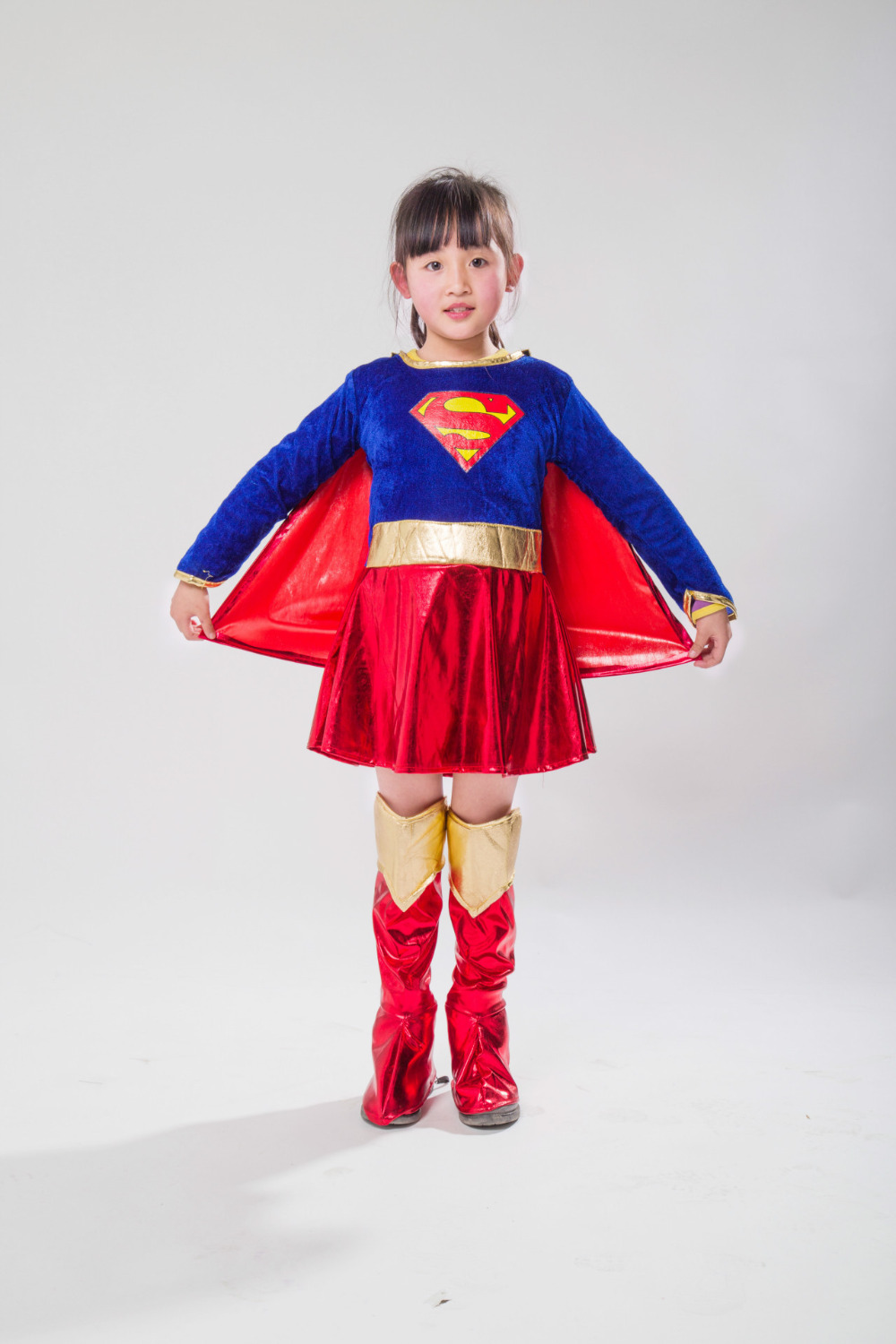2018 new costume Child Sexy Girls Supergirl Costume Cosplay Superman Halloween Purim Costume For Kids Party Dress