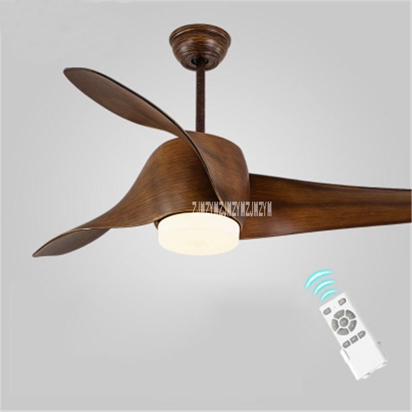 Потолочный вентилятор, переменная частота, светодиодный светильник, 52 дюйма, Европейский вентилятор для гостиной, лампа с 3 листьями, 5 киосков, пульт дистанционного управления, 110 240 В, 15 75 Вт