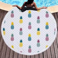 New Fruit Pineapple Large Tassel Beach Towel Throw Microfiber Adults Sport Towels Round Bath Towel Sunbath Yoga Mat