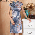 DreamShining Summer Women Cheongsam Lady Chinese Style chinese jurken Female High Neck Bodycon Chi-pao Chinese Cheongsam S-XXL