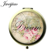 JWEIJIAO Breathe Friend Home Hope Paris Dream Quote Words Pocket Mirror Glass Cabochon Vintage Metal Floding Makeup mirrors(China)