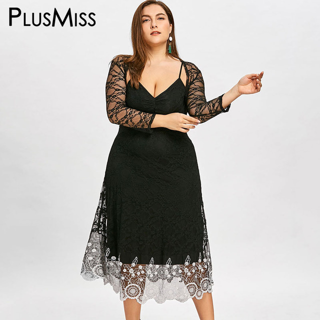d3a6144ee80 PlusMiss Plus Size 5XL Vintage Sexy Lace Cape Dress Summer Elegant Sheer  Mesh Spaghetti Strap V Neck Maxi Long Party Dresses