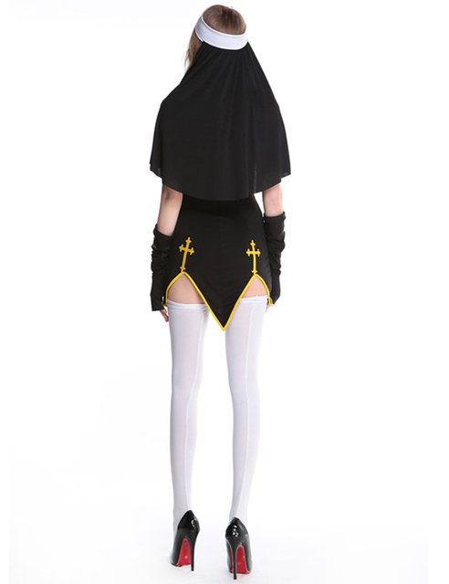 MOONIGHT Sexy Nun Costume Adult Women Cosplay Dress With Black Hood For Halloween Costume Sister Cosplay Party Costume 1