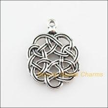 Novos 15 pces tibetano prata cor chinês knote encantos pingentes 16.5x23.5mm