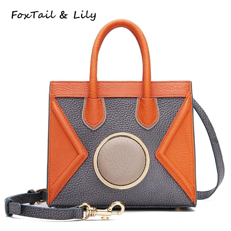 FoxTail & Lily Brand Original Patchwork Design Smiley Bag Women Small Handbags Genuine Leather Shoulder Crossbody Messenger Bag genuine leather women striped handbags patchwork lady shoulder crossbody bag brand design colorful stripe sling bag random color
