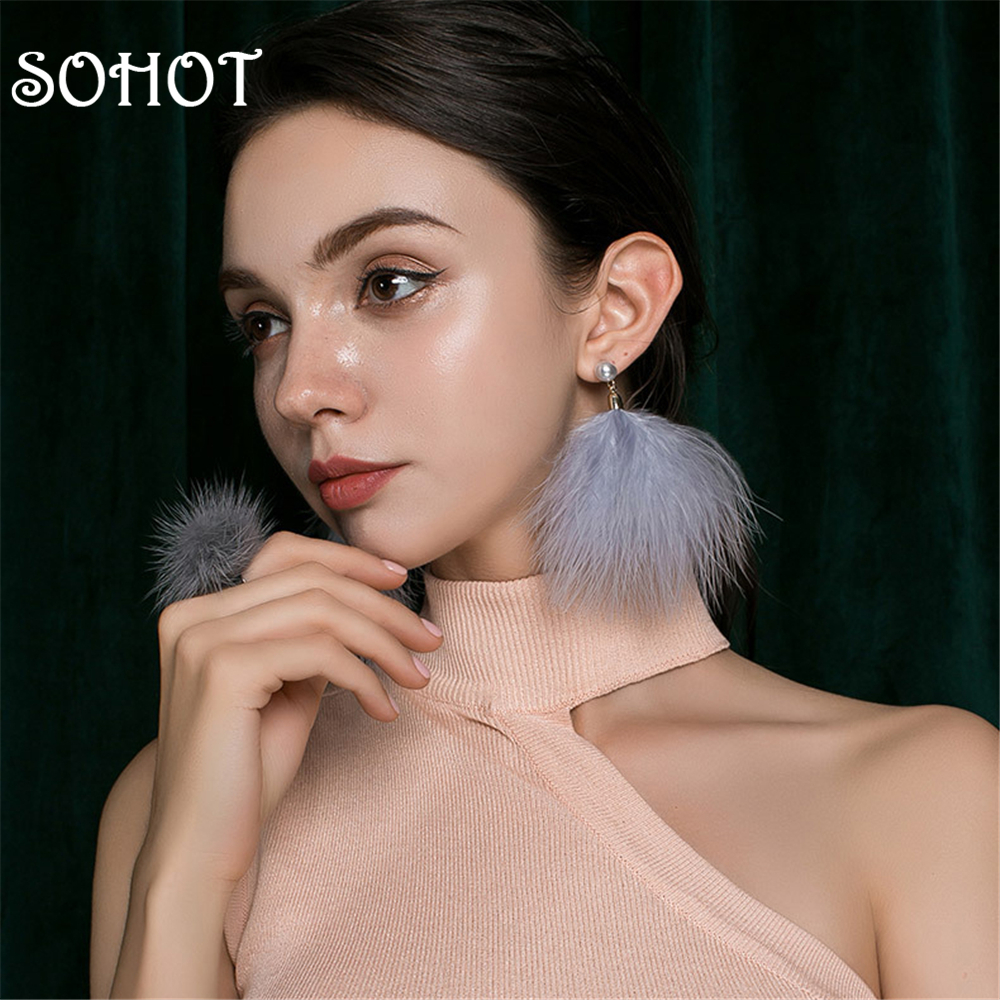 SOHOT Hyperbole Style Short Feather Drop Earrings Exiquisited Imitation Pearl Accessaries gery Color For Girl Party Jewelry