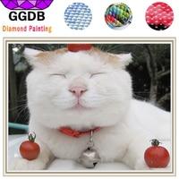 GGDB 5D DIY Diamond Painting Animal Bell The Cat 3D Cross Stitch Diamond Embroidery Europe Home