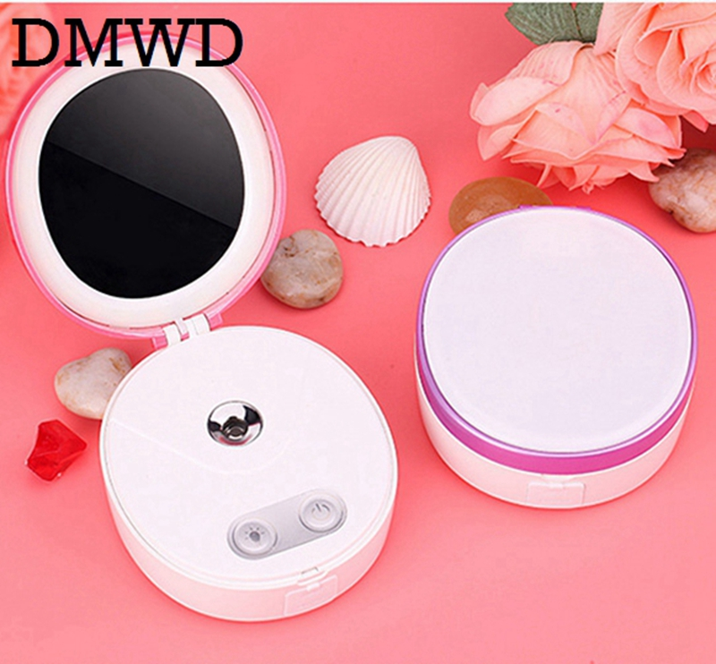 DMWD MINI Face Sprayer Nano Mister Ultrasonic Humidifier USB Facial Hair Nebulizer Steamer Hydrating Skin Care with mirror lamp portable mini usb handy mist sprayer facial body nebulizer steamer face skin care moisturizing spray beauty instrument