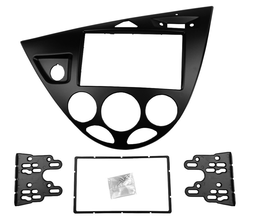 Double 2 Din Stereo Panel for Ford Focus /Fiesta Fascia Radio Refitting Installation Trim Kit Face Frame Bezel silver car 2din stereo panel fascia radio refitting dash trim kit for ford focus 98 04 rhd fiesta 95 01 rhd ca5038