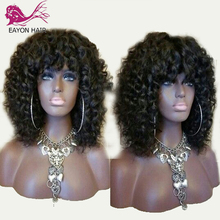 EAYON Glueless Full Lace Human Hair Wigs With Bangs Pre Plucked Bleached Knots Brazilian Remy 150% Curly For Women