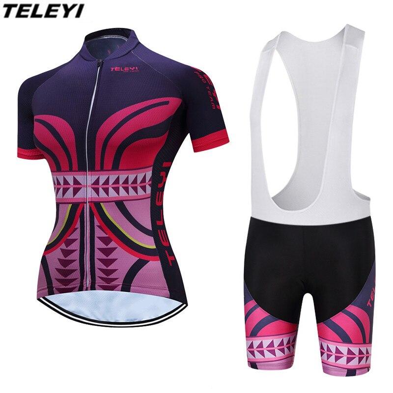 Prix pour TELEYI Violet Rose VTT Vélo Jersey bib shorts ensembles Ropa Ciclismo maillot Femmes Cyclisme Vêtements Fille vélo Haut Bas Femelle