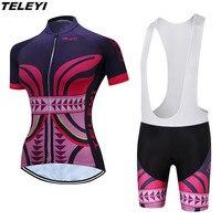 TELEYI Purple Pink MTB Bike Jersey Bib Shorts Sets Ropa Ciclismo Maillot Women Cycling Clothing Girl