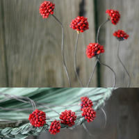 1 Piece Red Bean Ball With Iron Wire As Rod Handmade Natural Plant Combination Flower Arrangement