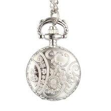 Модные Винтажные Женские кварцевые карманные часы, сплав, полые цветы, для девушек, свитер, цепь, ожерелье, кулон, часы, подарки