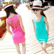 Hot New 2017 summer girl dress baby girls vest dress cotton girl clothing hollow pocket bag hip baby casual dress free shipping