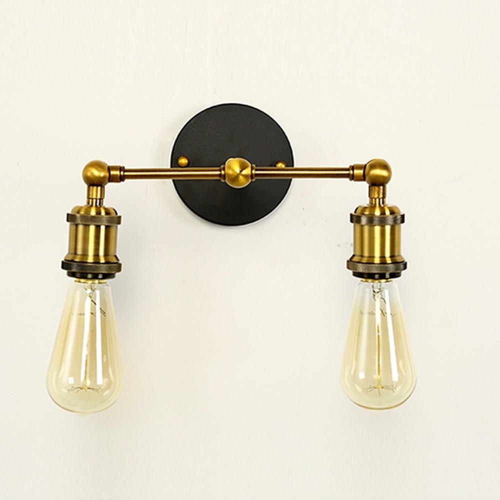 Industrial bathroom lights - Vintage Retro Industrial Led Wall Lamp Sconces Abajur Bedroom Loft Bathroom Iron Copper 2 Sides Wall