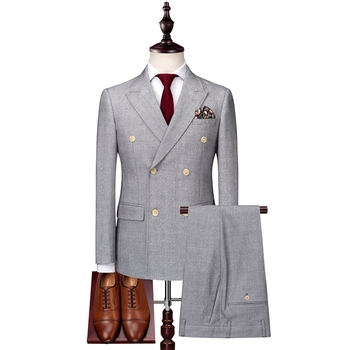 2019 new gray Men's 3 Piece Set Double Breasted men Suit Jacket with Vest and Pants Size S-3XL