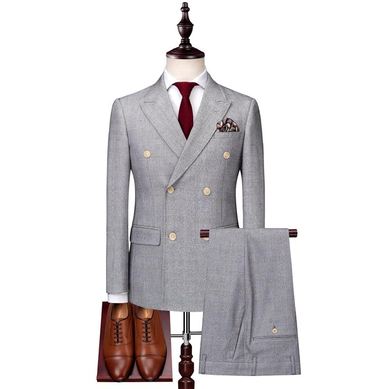 Gris hommes Double boutonnage costume vestes avec gilets et pantalons taille S-3XL costume masculin ensemble 3 pièces