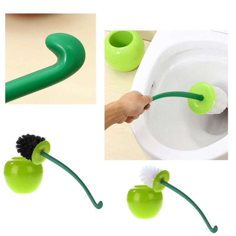 Cherry Toilet Brush Set Plastic Toilet Cleaning Brush Anti-skid Handle Creative Cleaning Brush Toilet Daily Household Cleaning