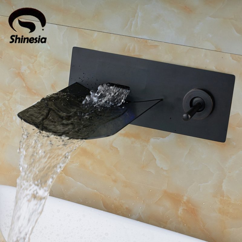 Oil Rubbed Bronze Finished Bathroom Sink Faucet Single Handle Waterfall Spout Tub Mixer Tap Wall Mounted chrome finished wall mounted bathroom sink tub faucet waterfall spout mixer tap solid brass