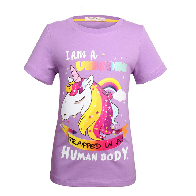 f8863a4067 2018 New Summer Children's girl Unicornio Funny Tee Shirts for girls Boys  Unicorn party Short Sleeve T-shirts Kids Casual Tops