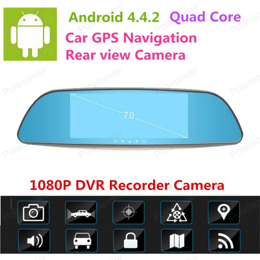 New 7 inch IPS Car RearviewMirror DVR Android 4.4 CarCamera Parking FHD 1080P Dual Camera Video Recorder GPS Dash Cam