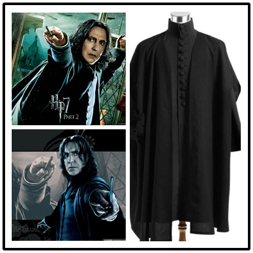 Harris Potter Professor Severus Snape Cosplay Costume Cloak Black Robe Adult Men Hogwarts School Deathly Hallows Halloween ...