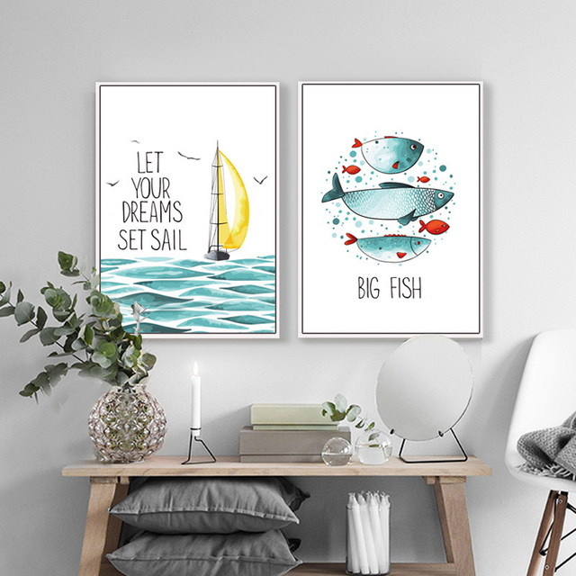 HAOCHU Watercolor Ocean Landscape Dreams Set Sail Motivational